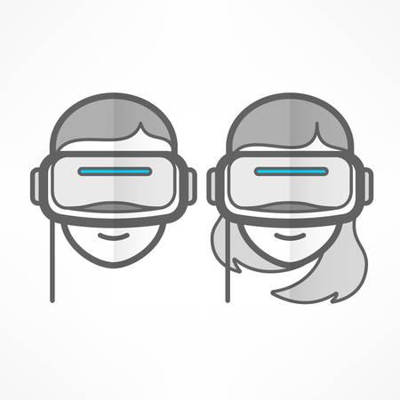 People in virtual reality headset on white, vr glasses and helmet flat icon, vector illustration Ilustração