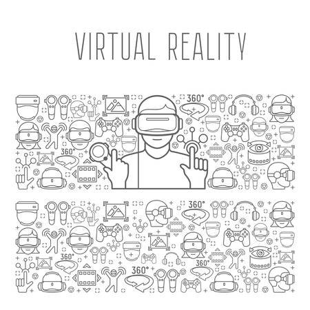 Virtual reality headset man concept , man in virtual reality headset on vr background, vector illustration
