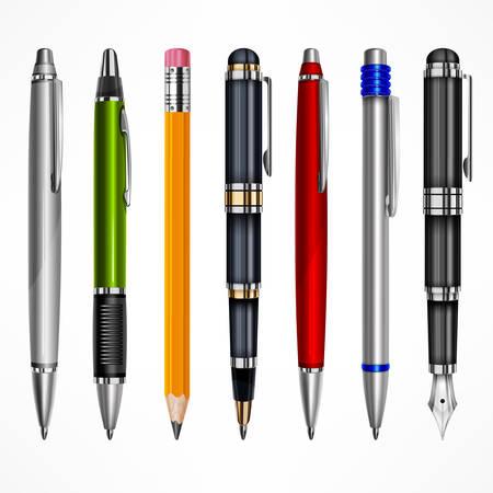 Reeks pennen en potloden, hulpmiddelen om te schrijven en te trekken, geïsoleerd op witte, vectorillustratie Stock Illustratie