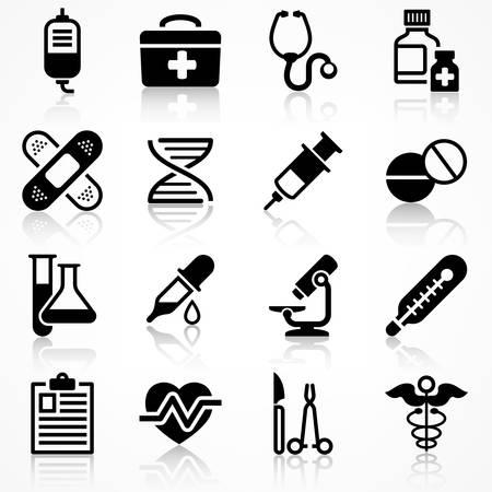 Set Of Medical Icons On White Medicine Symbols In Black Medical