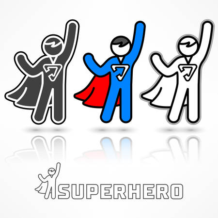 Superhero icon set, flying men in a superhero costumes on white, vector illustration