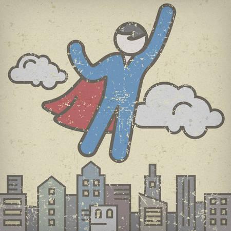 Flying men in a superhero costumes save city, superhero icon, vector illustration