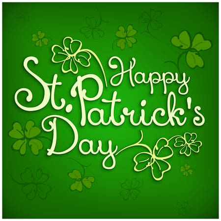 Handdraw lettering for greeting card of St. Patricks day, inscription text on green. Vector illustration
