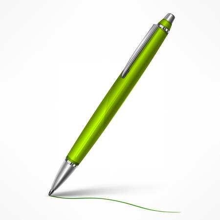 Expensive green tilt pen with writing line on paper, isolated pen on white, vector illustration.