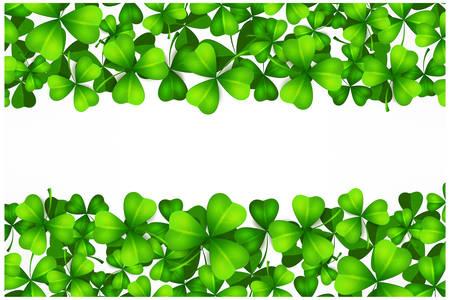 Saint Patricks day background with lucky green clover leaves or shamrocks on white, vector illustration. Çizim