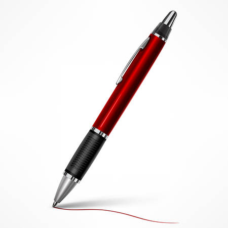 Red tilt pen with writing line on paper, isolated pen on white, vector illustration.