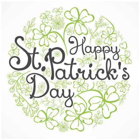 Handdraw lettering for greeting card of St. Patrick's day, inscription text on floral pattern. Vector illustration