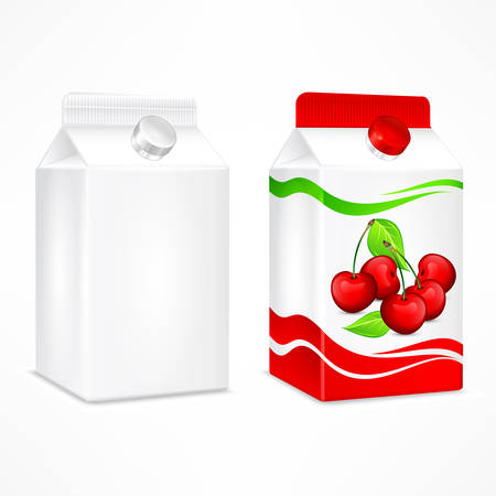 Packages for juice, cardboard pack with cherry juice and beverage blank, vector illustration.