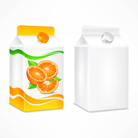 Packages for juice, cardboard pack with orange juice and beverage blank, vector illustration.