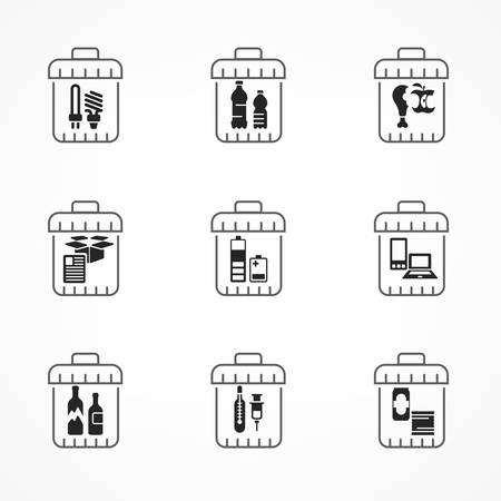 Garbage waste recycling icons, line trash of different waste sorting, garbage recycling vector illustration