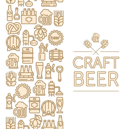 Vintage banner for craft brewery, linear icons and text on white, vector illustration Illustration