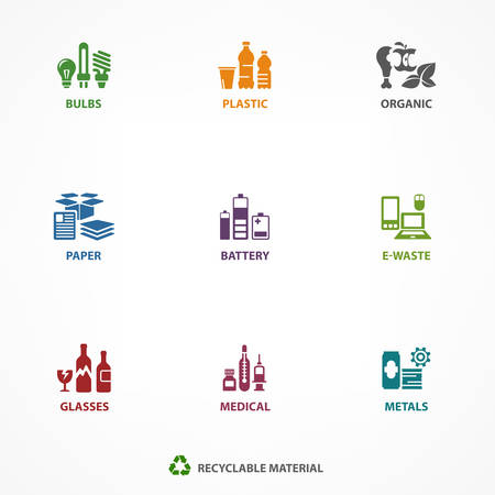 Garbage waste recycling icons, line symbols of different waste sorting, garbage recycling vector illustration Vettoriali
