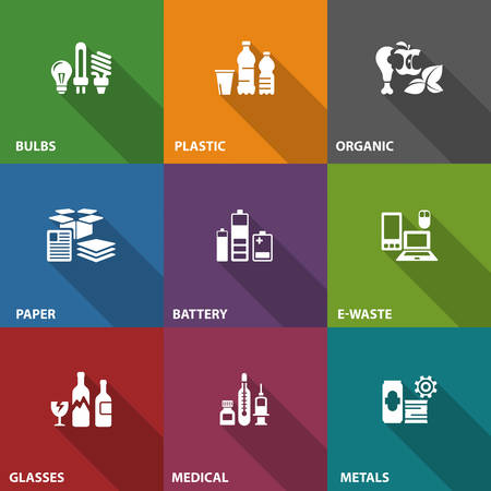 Garbage waste recycling icons on color, line symbols of different waste sorting, garbage recycling vector illustration Vettoriali