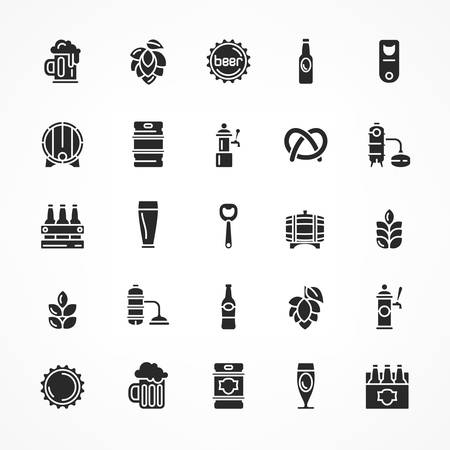 Set of black beer icons isolated on white, vector illustration for craft brewery