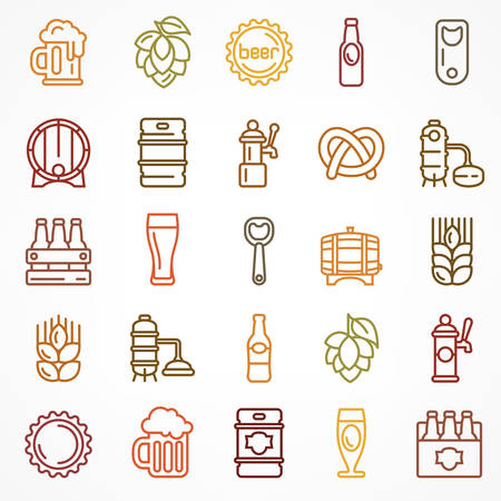 Set of linear color beer icons isolated on white, vector illustration for craft brewery