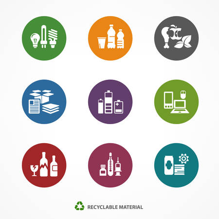 Garbage waste recycling icons, line round symbols of different waste sorting, garbage recycling vector illustration