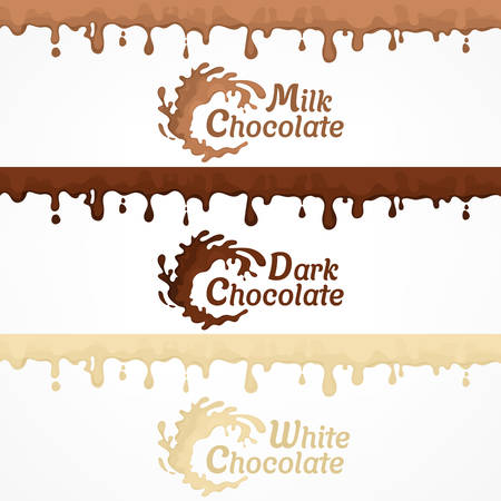 Set of chocolate blots and splash label, dripping and flows hot chocolate or glaze. Vector illustration for dessert design Ilustrace