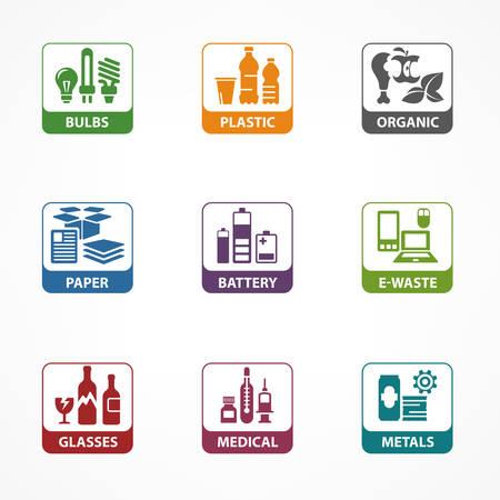 Vuilnisafval recycling vierkante pictogrammen, lijnsymbolen van verschillende afvalsortering, afvalrecycling vectorillustratie