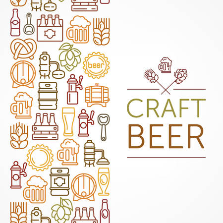 Vintage banner for craft brewery, linear color icons and text on white, vector illustration