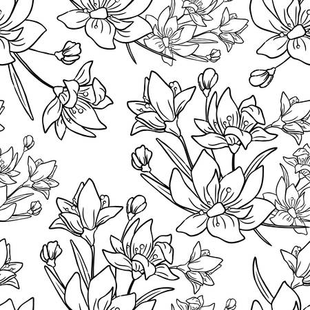 Seamless pattern with flower, branch and leaves. Hand drawn background for colored, vector illustration