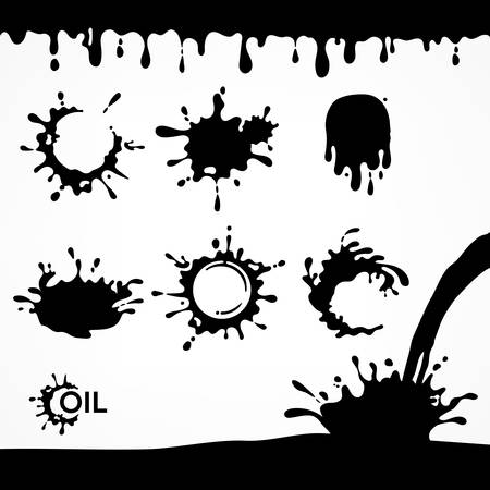 Black oil drops and splash, set of paint dripping liquid drips and flows down oil, vector illustration for boring industry