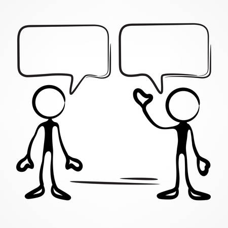 Business meeting, stick figures with dialog speech bubbles on white, vector illustration