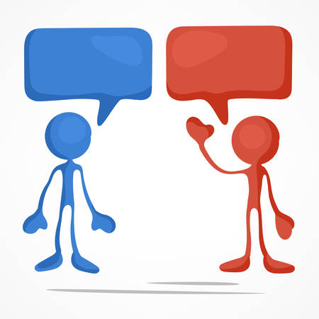 Business meeting, stick figures with dialog speech bubbles, vector illustration