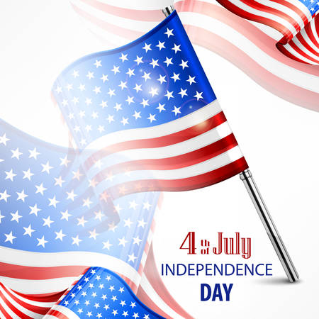 Happy Independence Day banner with 4th july text, vector illustration for independents day celebration
