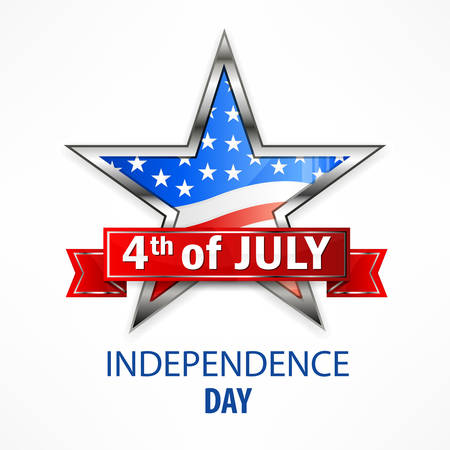 Independence Day star on white, vector illustration for independents day celebration
