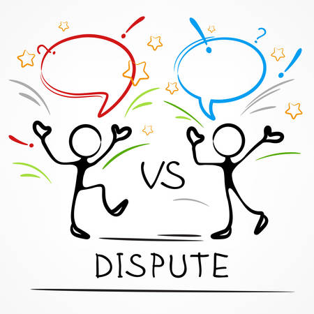 Dispute, business meeting, stick figures with dialog speech bubbles, linear vector illustration