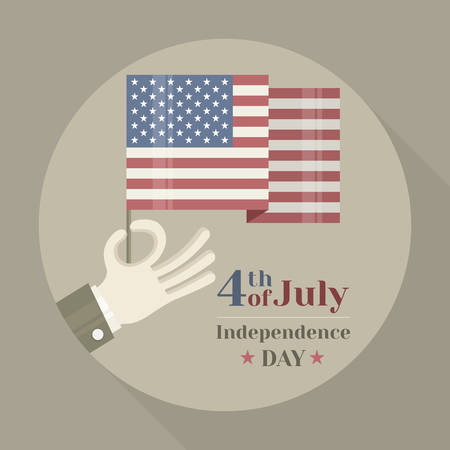 Hand holding American national flag on round background, vector illustration for independents day celebration Illustration