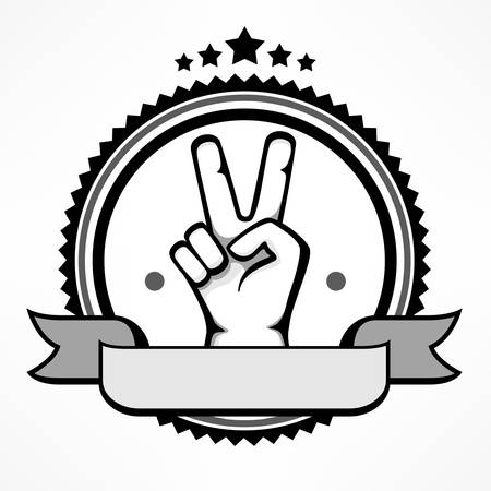 Label with victory gestures of human hands isolated on white. Vector flat illustration