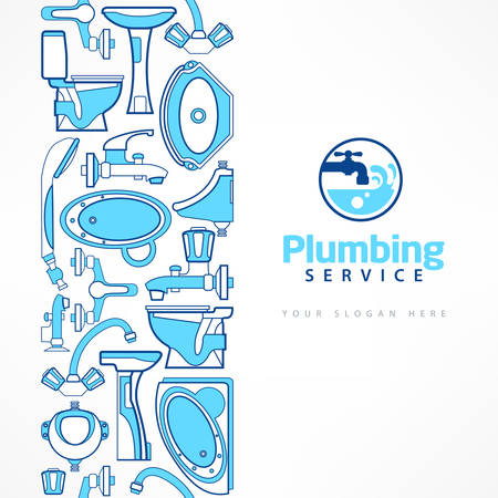 Plumbing banner with logo for design, plumbing symbol on white with text,  vector illustration in blue