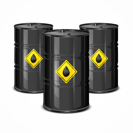 Three 3d crude oil barrels with yellow label, vector illustration isolated on white