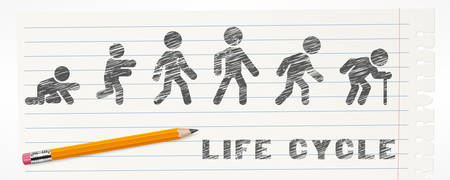 Man lifecycle from birth to old age. Life cycle and aging process. Person growing up from baby to old age Illustration