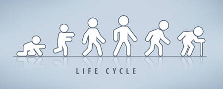 Man lifecycle from birth to old age on grey. Life cycle and aging process. Person growing up from baby to old age Illustration