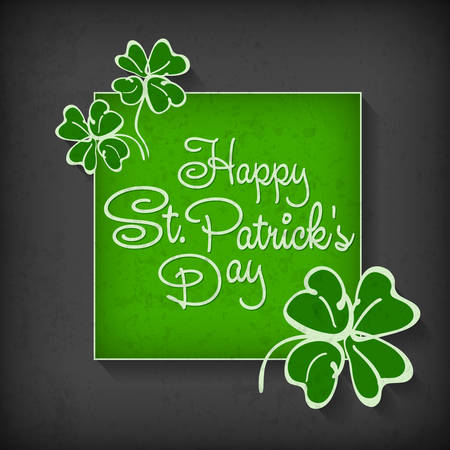 Handdraw lettering for greeting card of St. Patricks day, inscription text in frame. Vector illustration