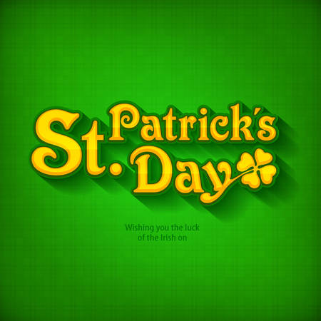 Handdraw lettering for greeting card of St. Patrick's day, inscription text on green. Vector illustration