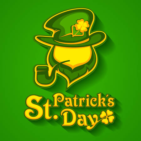 Saint Patricks Day leprechaun with pipe, beard, hat and clover. Irish modern leprechaun face on green. Vector illustration