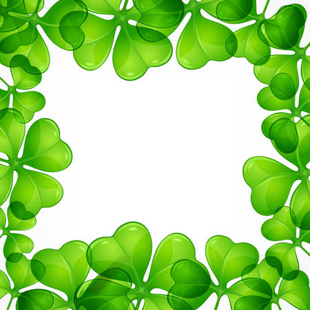 Saint Patricks day border pattern with lucky clover leave or shamrock, vector illustration  イラスト・ベクター素材