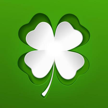 Saint Patricks white lucky clover leaf or shamrock on green Illustration