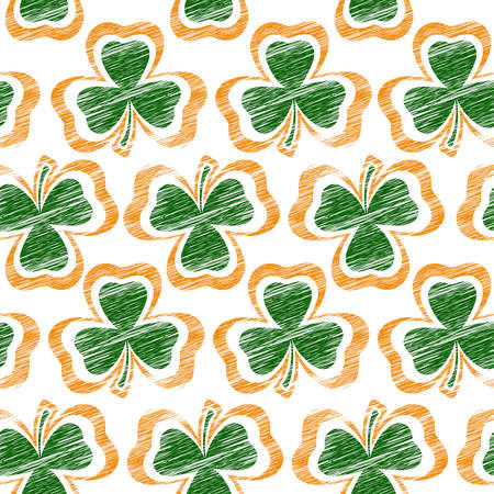 St Patrick day seamless background with shamrock, vector illustration texture