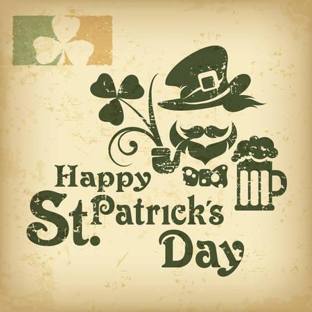 Saint Patricks Day poster with leprechaun, beer, clover and inscription text. Irish holiday design. Vector illustration Illustration