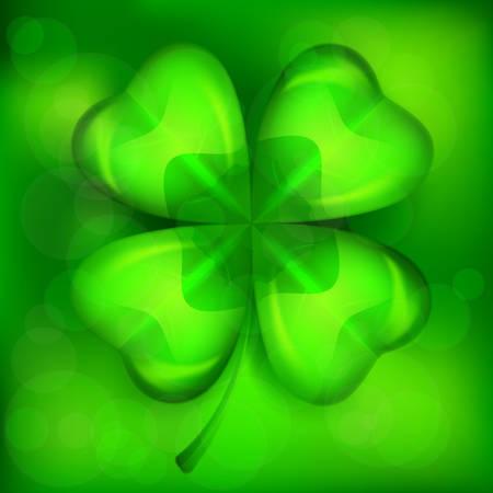 Saint Patricks lucky clover leaf or shamrock on green, vector illustration