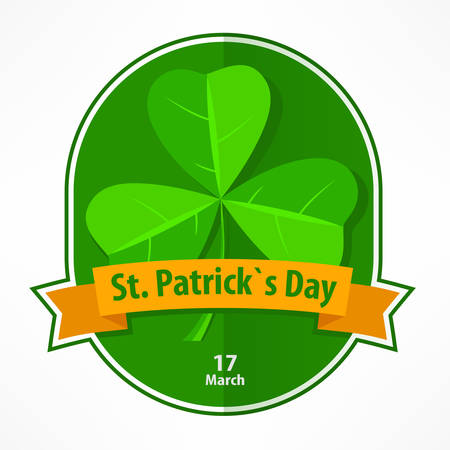 St Patrick label with shamrock and ribbon on white, vector illustration