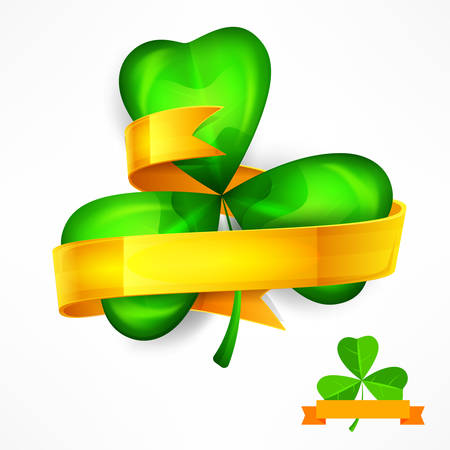 Saint Patricks green three clover leaves or shamrock with ribbon on white, vector illustration Illustration