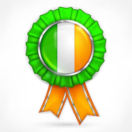 Irish flag award with shamrock, vector illustration Illustration