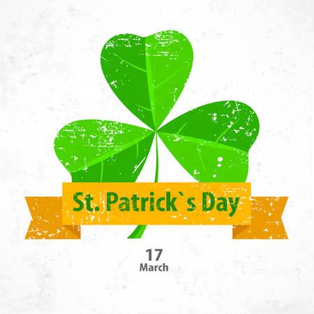 Vintage Saint Patricks clover leaves or shamrock with ribbon, vector illustration