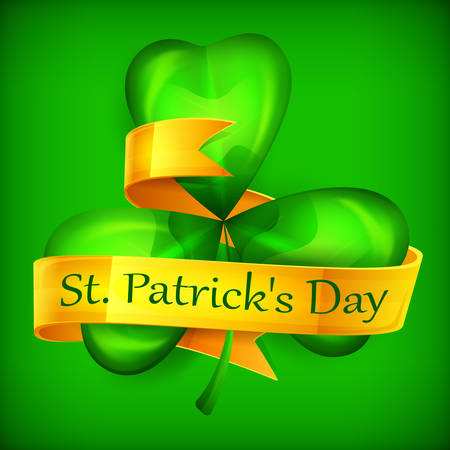 Saint Patricks green three clover leaves or shamrock with ribbon on green, vector illustration