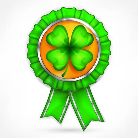 Saint Patricks award with lucky shamrock, vector illustration